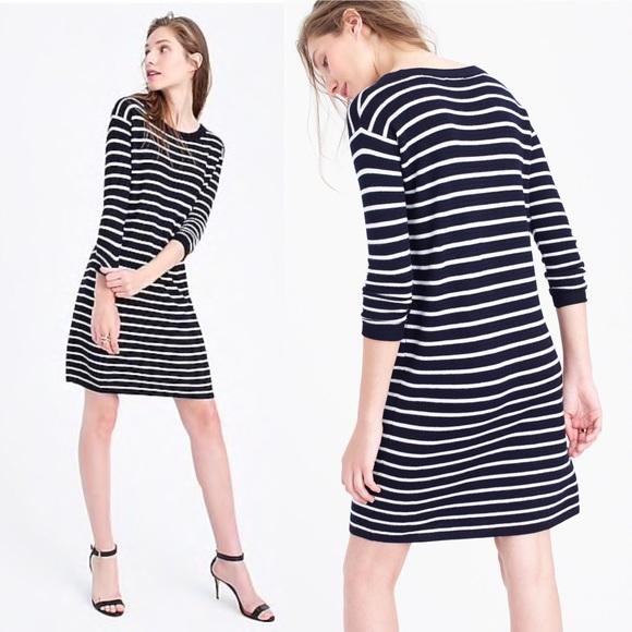 f71851cea36 J. Crew Dresses   Skirts - J crew Merino Wool Striped Sweater Dress